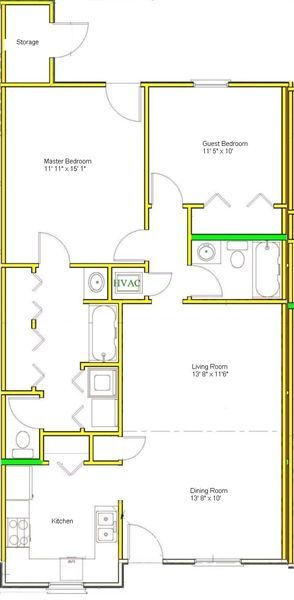 2/2 Back Door in Master Floor Plan