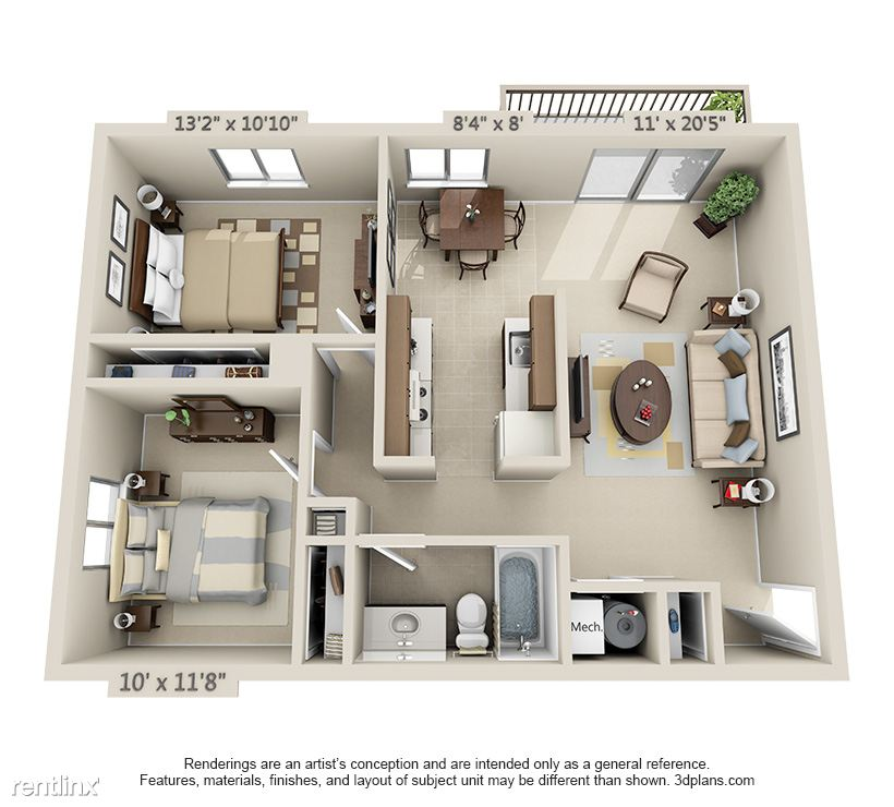 2 Bedroom, 1 Bathroom Layout- 837 Sq Ft