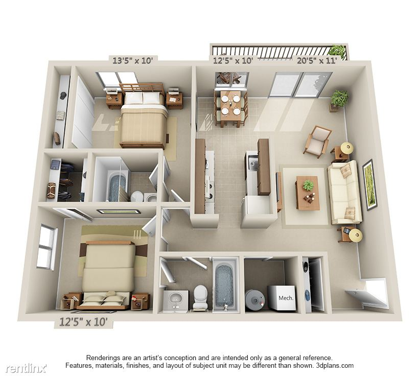 2 Bedroom, 2 Bathroom Layout- 954 Sq Ft