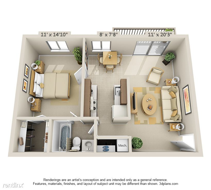 1 Bedroom, 1 Bathroom Layout- 657 Sq Ft