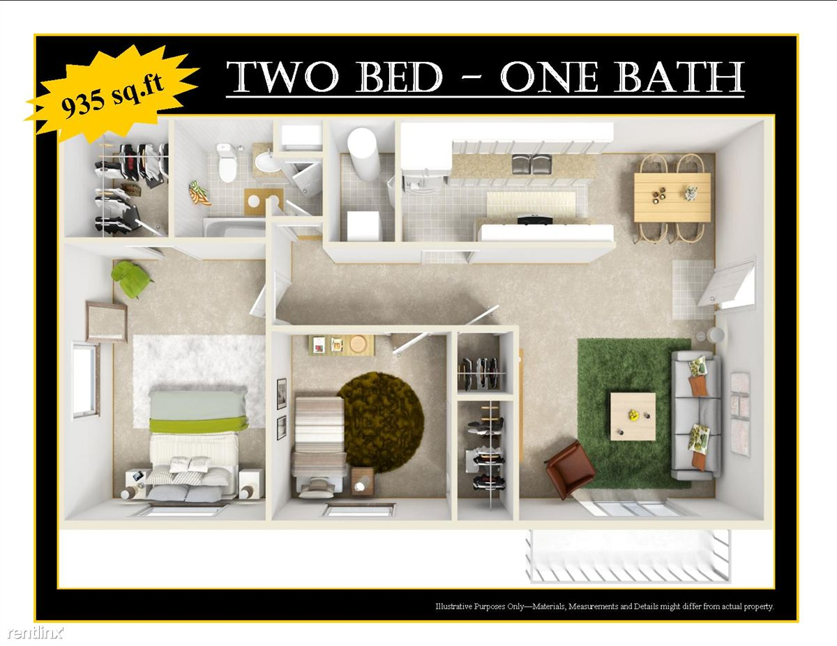 2bed 1bath 3D OFFICE Black