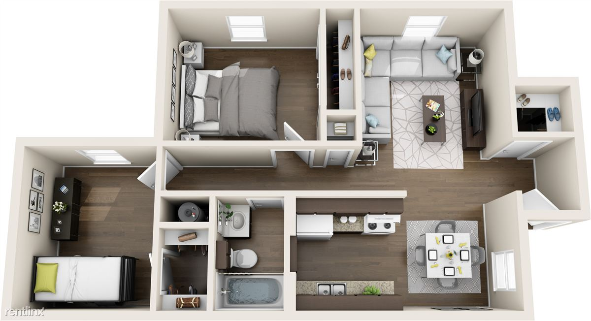 3D rendering showing possible furniture layout for this apt.