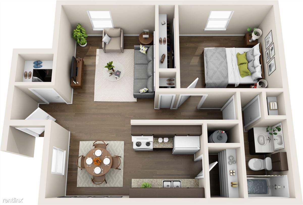 Blanco Oak Apartments_1 bed - 3D (Ideas for furniture layout)