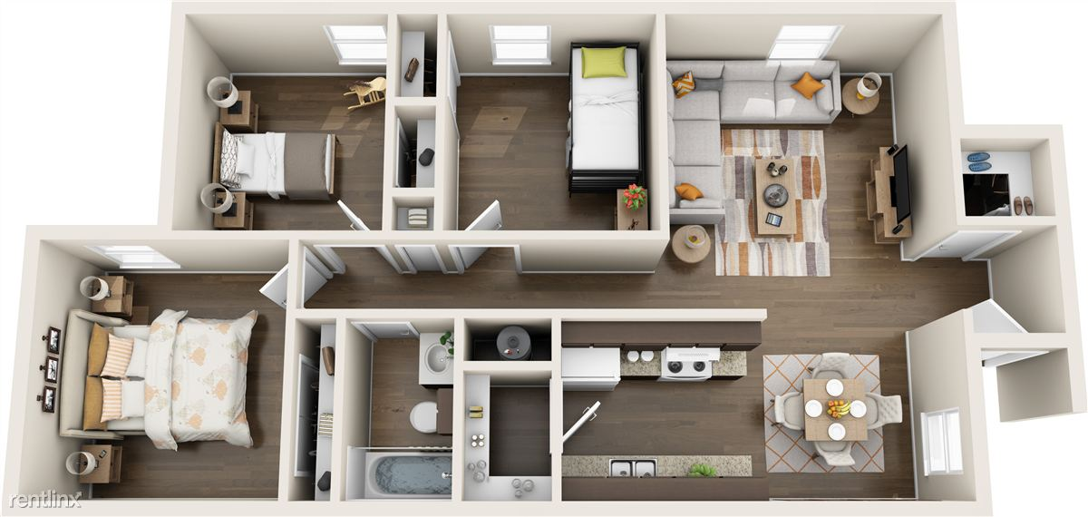 Blanco Oak Apts_3 BR 3-D_Ideas for Furniture layout