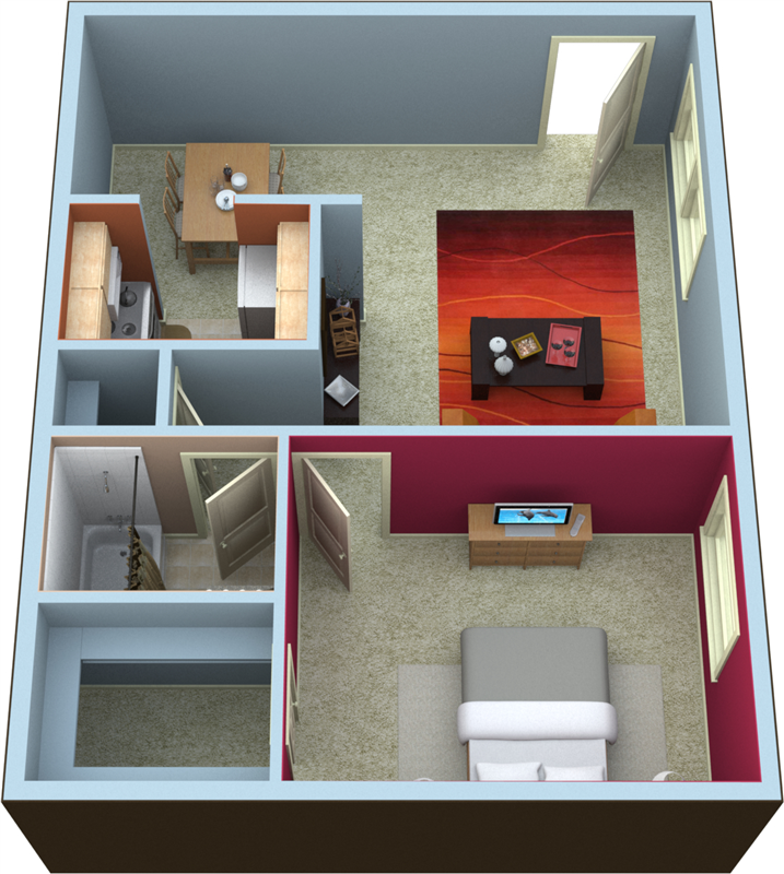 One Bedroom Floorplan- 650 Sq.Ft