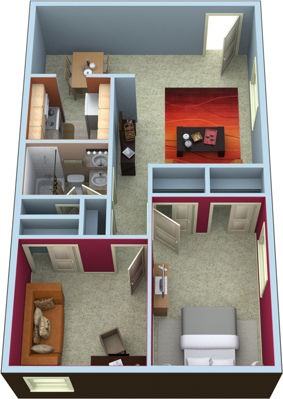 Two Bedroom Floorplan- 860 Sq.Ft