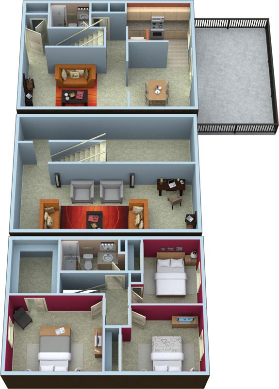 Three Bedroom Two Bath TownHome Floorplan- 1800 Sq.Ft