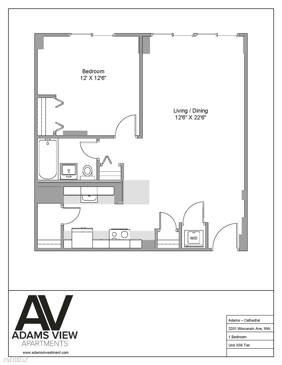 1 bedroom floor plan - Option D
