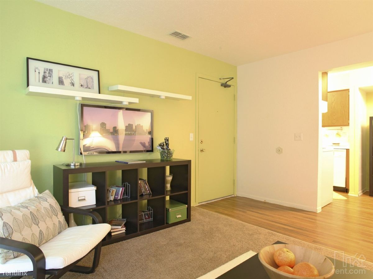 model living room, front door