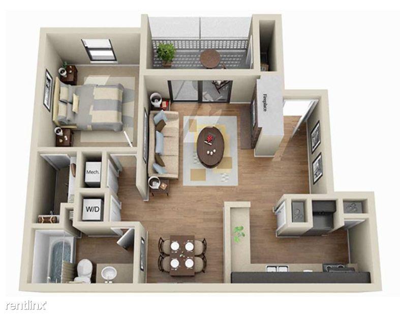 aViera Whitemarsh 1 Bedroom Floor Plan