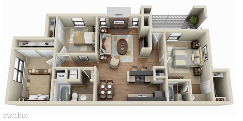 aViera Whitemarsh 3 Bedroom Floor Plan
