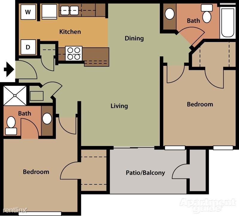 Ashwood Apartments Saint Charles Missouri Two Bedroom Floorplan