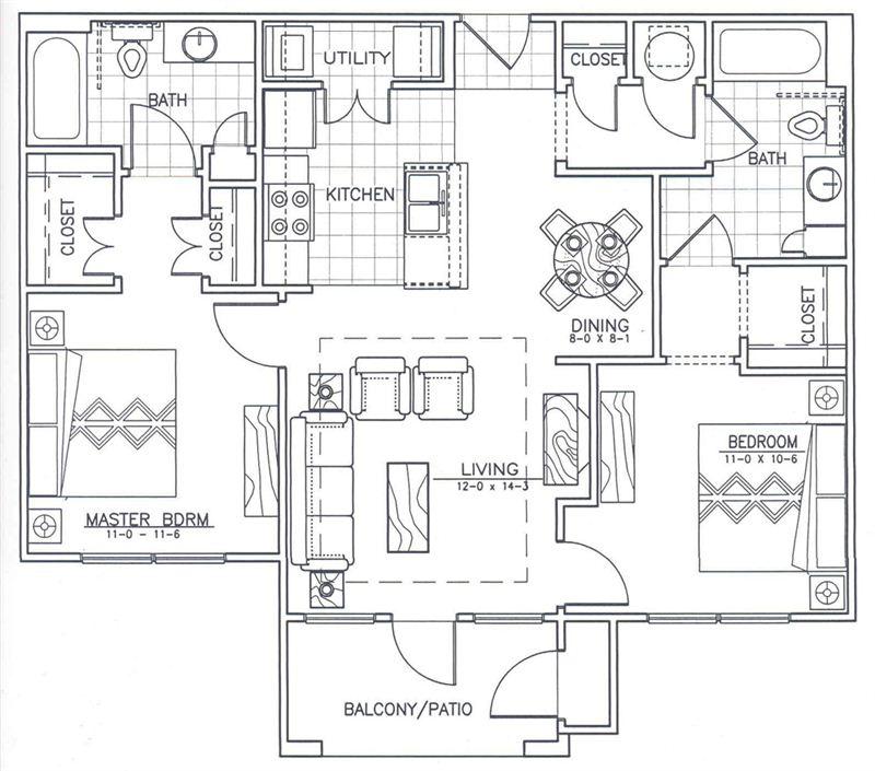 Arbor Point 2 Bedroom Floorplan