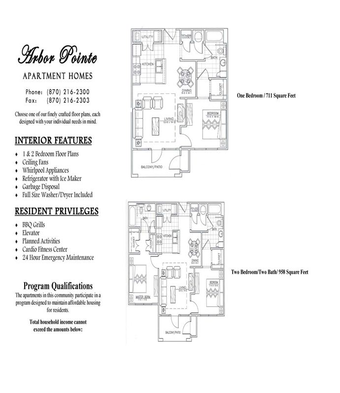 Arbor Pointe Features and Floorplans