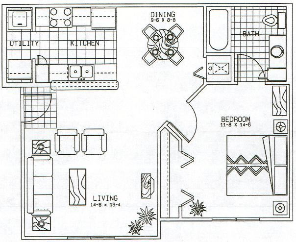 Austin Heights 1 Bedroom Layout