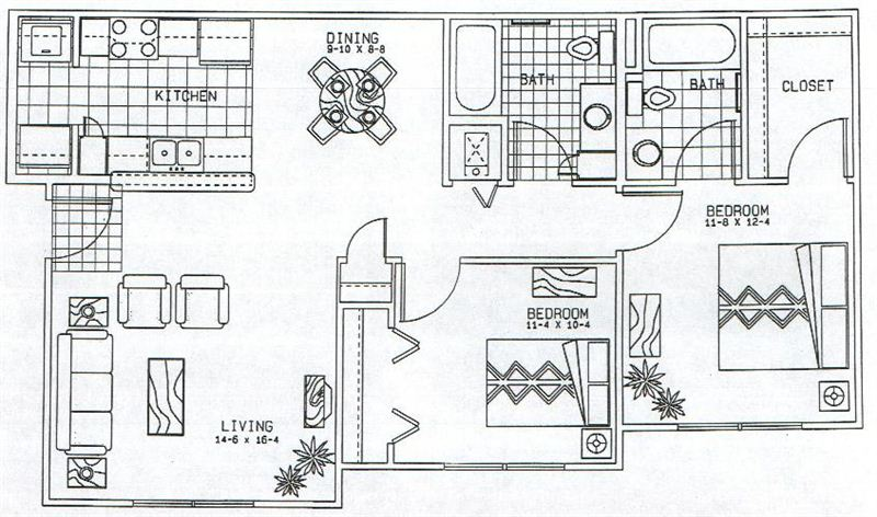 Austin Heights 2 Bedroom Layout