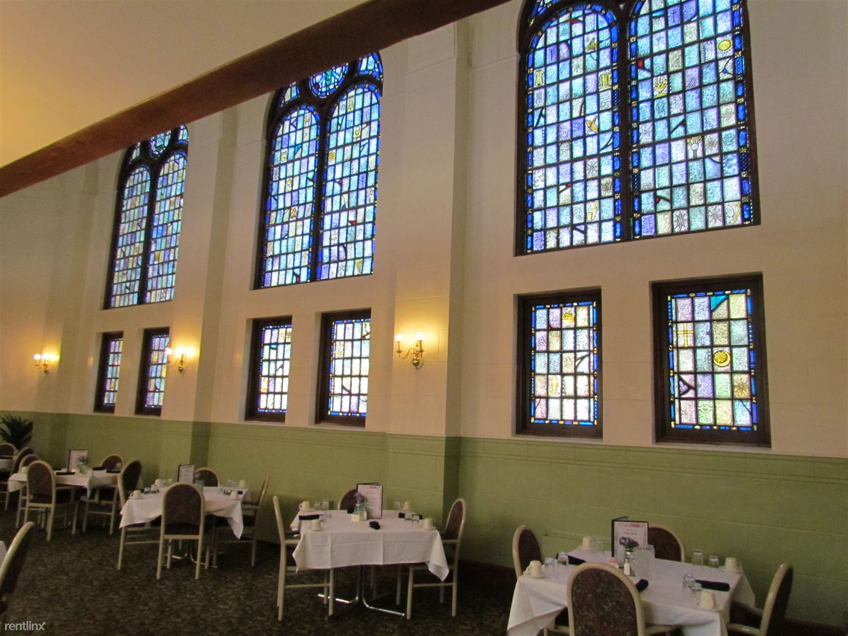 Historical Stained Glass in the Dining Room