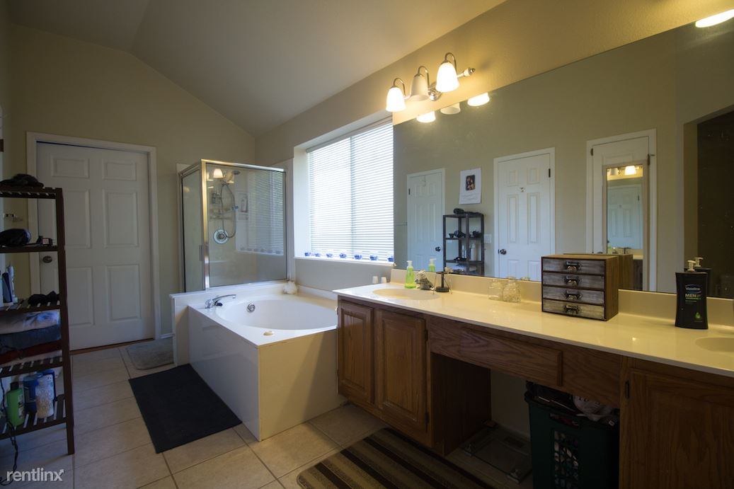 Master bathroom with jetted tub and large walk-in closet