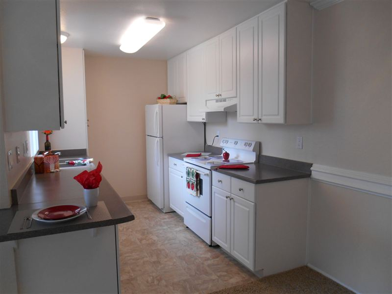 Spacious remodeled kitchen with new cabinets and counter tops