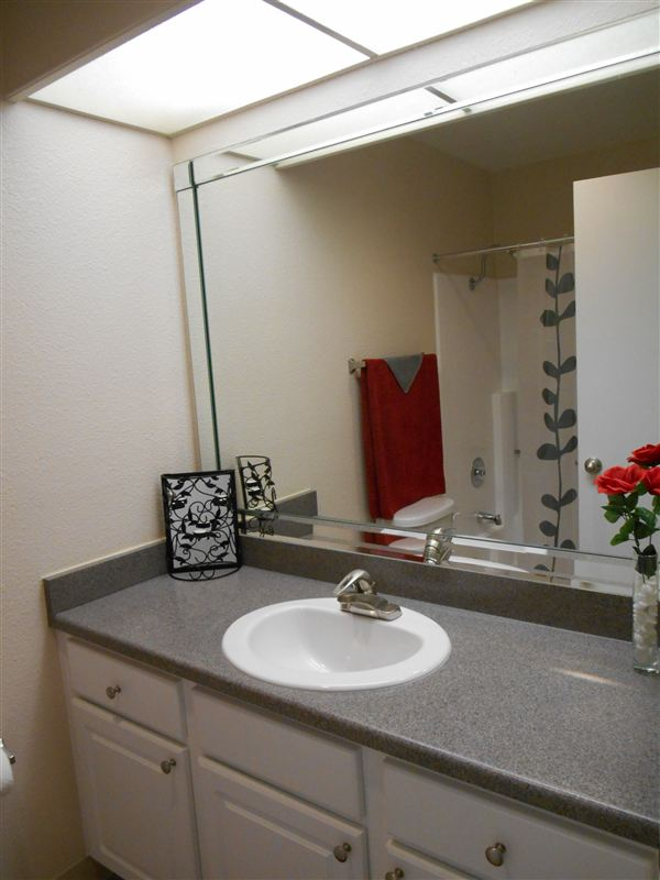 Newly remodeled bathrooms with new cabinets and counters