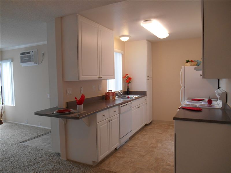 Remodeled Kitchens with new counter tops and cabinets in select apartments