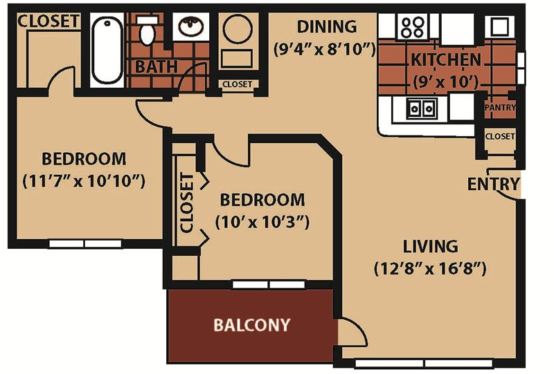 VDS 2BR 1BA 900 sq. ft. NEW