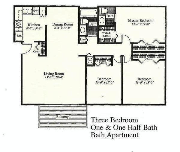 2 bedroom 1 bath (928 square feet)