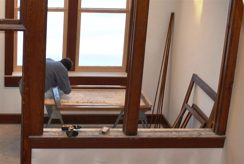Restoration in process by talented crew members