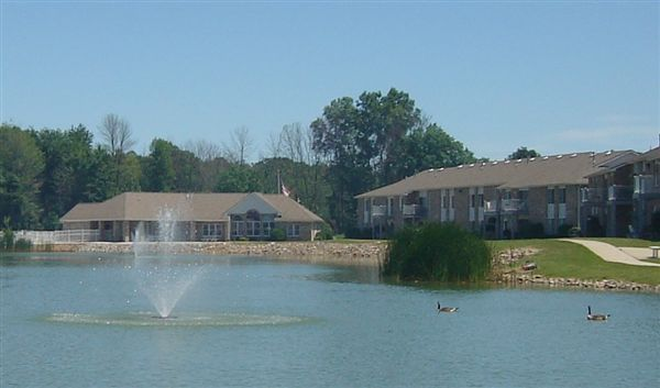 A view of the clubhouse from across Brady Lake.