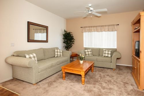 Airy 9-foot ceilings, window coverings, and ceiling fans all add to the comfort of our apartments!