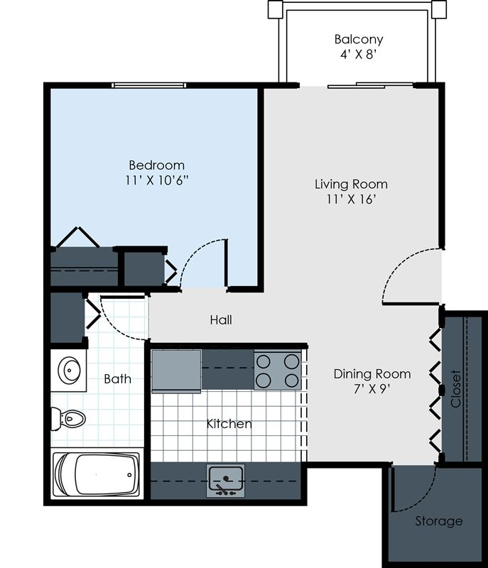1 Bed Floor Plan-OW