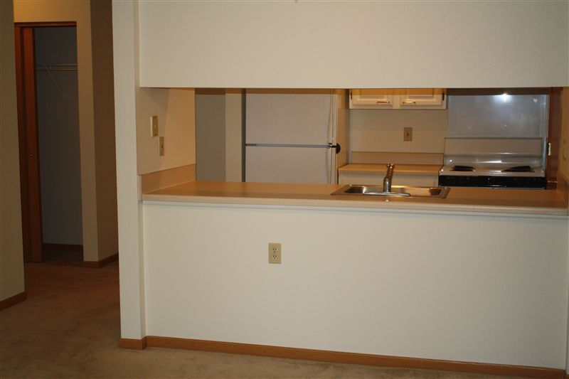 View of Kitchen from Living room of Large 1 Bd Apt.