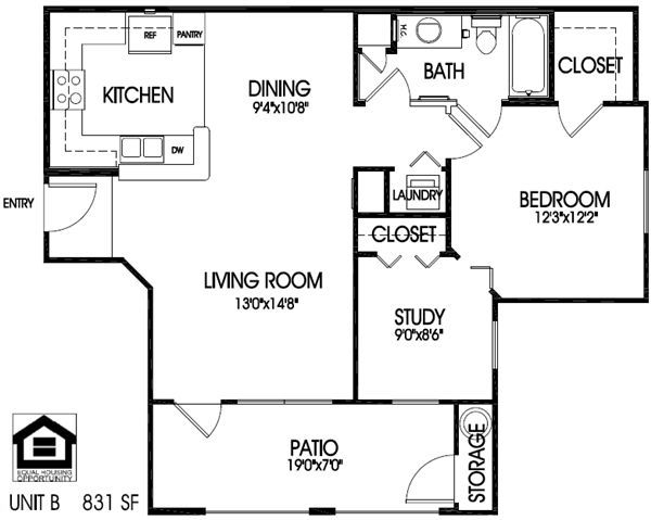 1 bedroom, 1 bath with den floor plan