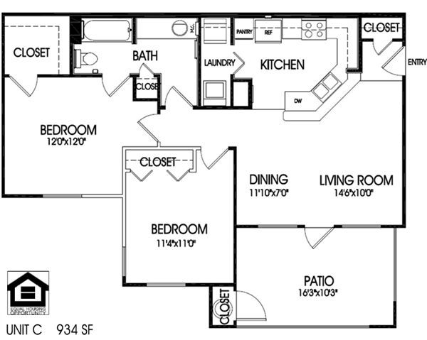 2 bedrooms, 1 bath floor plan