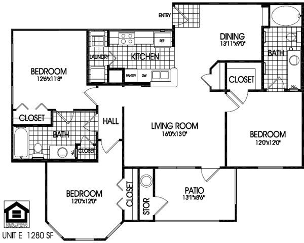 3 bedrooms, 2 baths floor plan