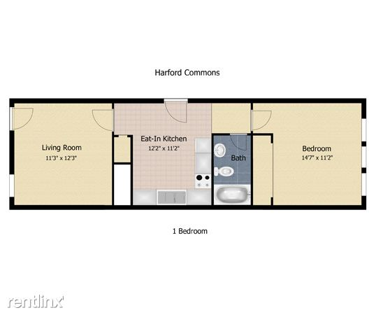 one bdrm townhome floor plan