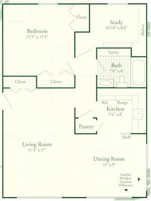One bedroom with Study