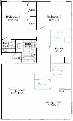 two bedroom one and half bath