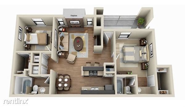 aViera Whitemarsh 2 Bedroom Floor Plan