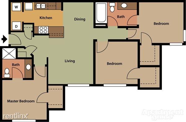 Ashwood Apartments Saint Charles Missouri Three Bedroom Floorplan