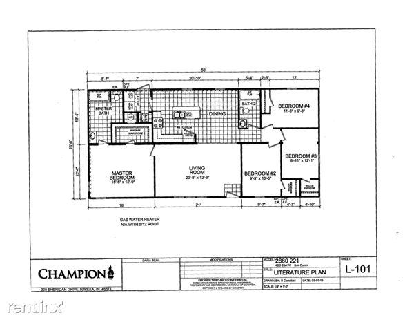 28X56 4 BEDROOM FLOOR PLAN