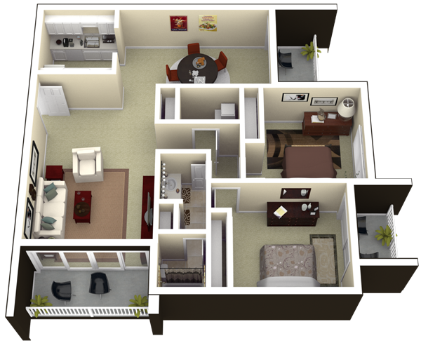 3d floorplan for Two bedroom apartments